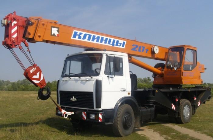 "Автокран 20 тонн ""Клинцы"" КС-45724-5 в аренду"